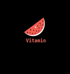 piece of watermelon icon labeled vitamin vector image