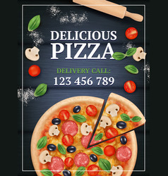 Pizza ads poster sliced delicious tasty vector