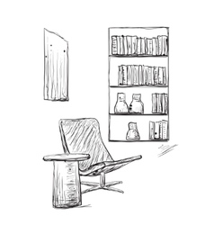 Place for reading with chair vector