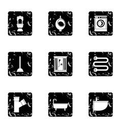 Plumbing icons set grunge style vector