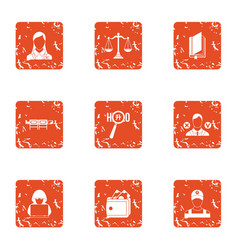 Privacy icons set grunge style vector