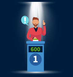 Quiz show standing man raise up hand answer vector