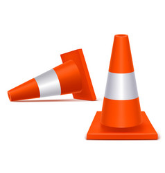 realistic 3d detailed plastic traffic cones set vector image