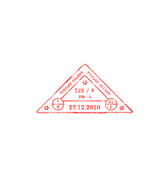 red triangle stamp with date arrival departure vector image