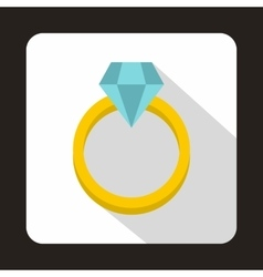 Ring with diamond icon flat style vector image