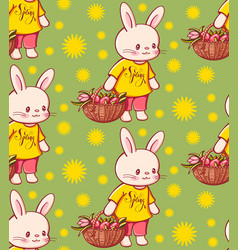 seamless pattern with funny cartoon bunnies vector image