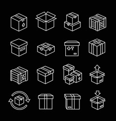 set box line icons white outline package boxes vector image