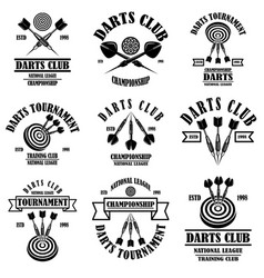 Set darts club label templates design element vector