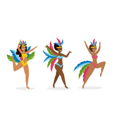 set girls dancers with cute costume and feathers vector image