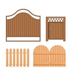 set icons wooden fence palisade farm gates vector image