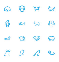 Set of 16 editable zoo outline icons includes vector