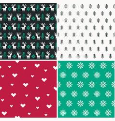 Set of four winter forest pixel patterns set 1 vector