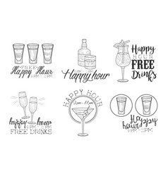 Set of hand drawn emblems for cocktail bar vector