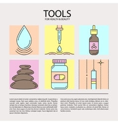 Set of icons of beauty and health tools vector image vector image
