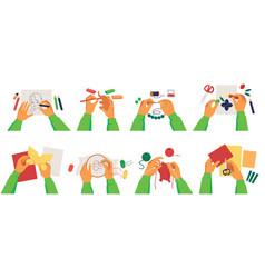 Set person hands making diy crafts various vector