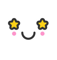 Shining kawaii cute emotion face emoticon vector