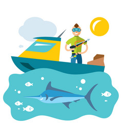 spearfishing fishing flat style colorful vector image