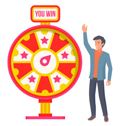 Spinning fortune wheel and character gambling vector