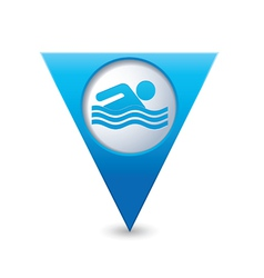Swiming icon map pointer blue vector