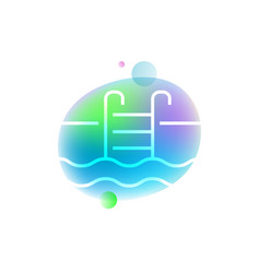 Swimming pool neon icon vector