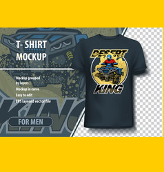 T-shirt mock-up template with quad bike on desert vector
