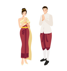 Thai wedding couple greeting in traditional light vector
