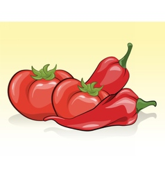 Tomatoes and red pepper vector