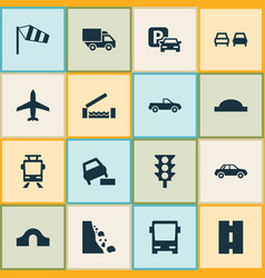 transportation icons set with truck side wind vector image