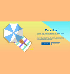 vacation banner depicting woman under sun umbrella vector image