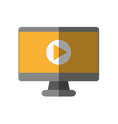 video play symbol on computer screen icon image vector image vector image