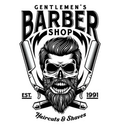 Vintage bearded barber skull with crossed razors vector