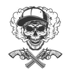 Vintage monochrome bandit skull vector