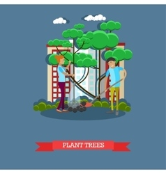 volunteers planting trees vector image