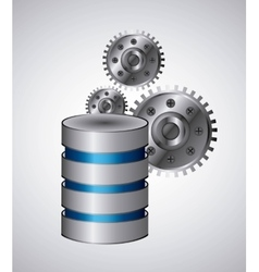 Web hosting and gears icon Data center design vector