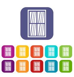 white latticed rectangle window icons set flat vector image