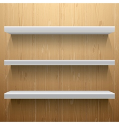 White shelves on wood background vector image