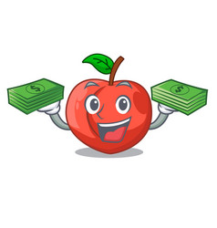 With money cartoon fresh sweet nectarines in the vector