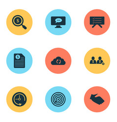 work icons set with search money goal deadline vector image