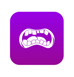 Zombie mouth icon digital purple vector