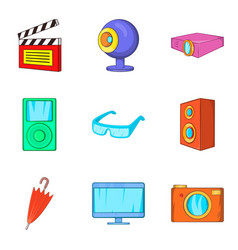 film editing icons set cartoon style vector image