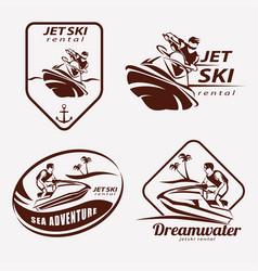 jet ski set of stylized symbols emblem and label vector image vector image