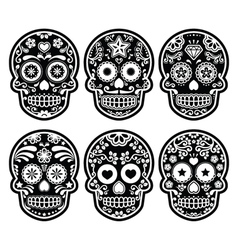 Mexican sugar skull Dia de los Muertos black icon vector image