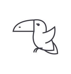 toucan bird line icon sign vector image vector image