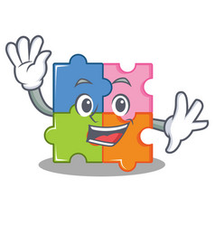 waving puzzle character cartoon style vector image vector image