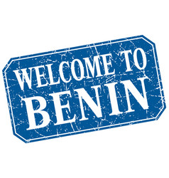 Welcome to benin blue square grunge stamp vector