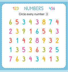circle every number three numbers for kids vector image