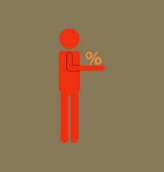 flat icon of human discounts percent vector image