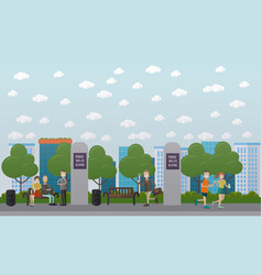 Free wi-fi zone in the park flat vector