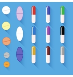 Set of different colorful pills vector