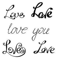 Set of hand-written words vector image vector image